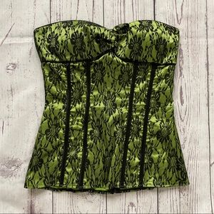 Charlotte Russe 2000's green black lace corset top